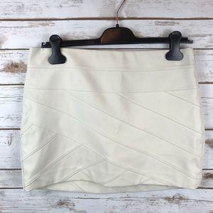 Express Moto Faux Leather Bandage Mini Skirt Ivory
